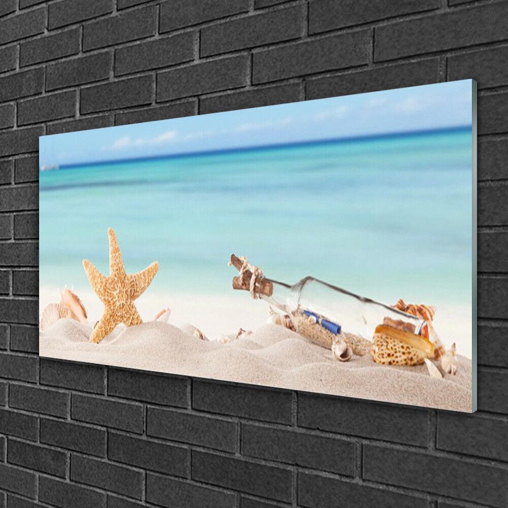Acrylique Print Wall Art Image 100x50 Photo Sable étoile de mer bouteille art
