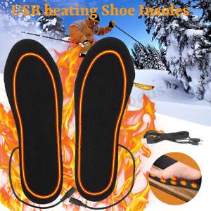 USB Electric Heated Shoe Insoles Warm Socks Feet Heater Foot Winter Warmer Pa✔GB