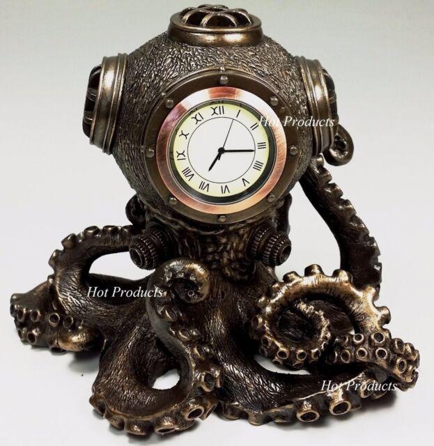 Steampunk Octopus Bronze Desktp Sculptural Clock
