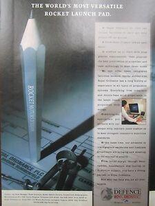 1-1992 PUB BRITISH AEROSPACE DEFENCE ROYAL ORDNANCE ROCKET MOTORS ORIGINAL AD d4CEjQAq-08065256-964319591