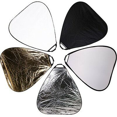 triangular collapsible 110cm 5 in 1 multi disc light reflector + handle grip uk