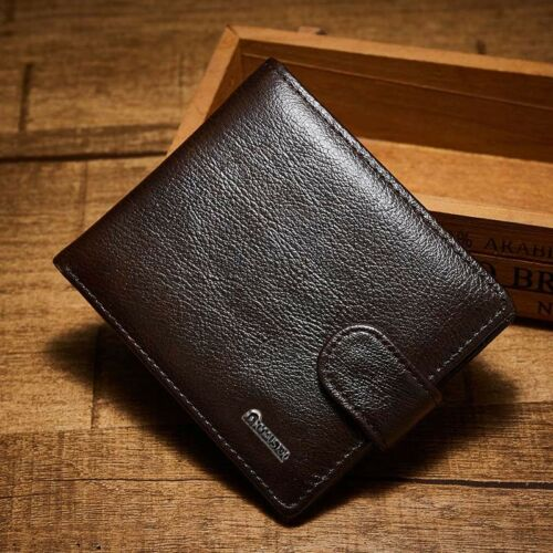 Luxury Vintage Men Wallet Geniune Leather Coin Pocket ID Card Holder Black Brown
