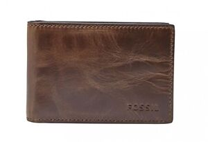 FOSSIL-Derrick-Money-Clip-Bifold-Geldboerse-Dark-Brown-Braun-Neu