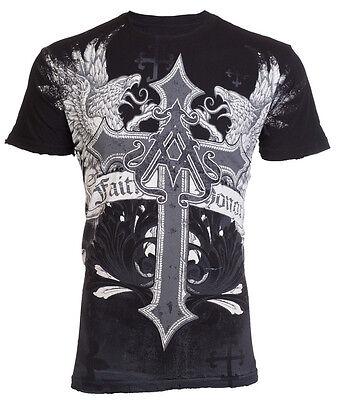 Affliction/ Archaic Mens Thermal T-Shirt Collision Tattoo Biker MMA UFC
