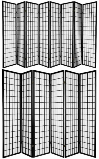 3,4,5,6,8 Panel Japanese-Oriental Style Shoji Screen Room Divider Natural Color