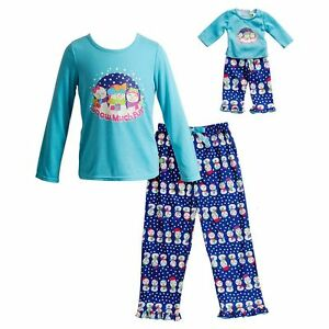 """Dollie & Me Girl 4-14 and 18"""" Doll Matching Snowman Pajamas Outfit American Girl"""
