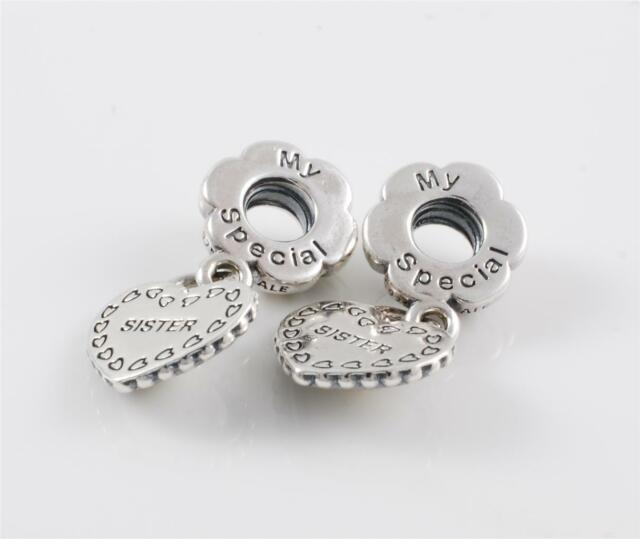 8bb5a29bb ... Authentic Genuine Pandora Sterling Silver My Special Sister Charm Bead  791383 .
