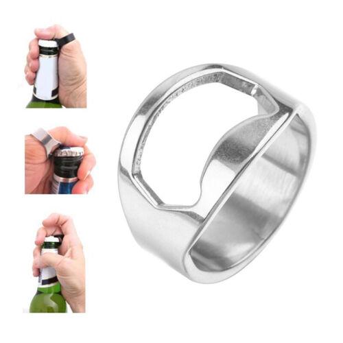 1PCS Stainless Steel Creative Versatile Finger Ring Bottle Opener Bar Beer Tools