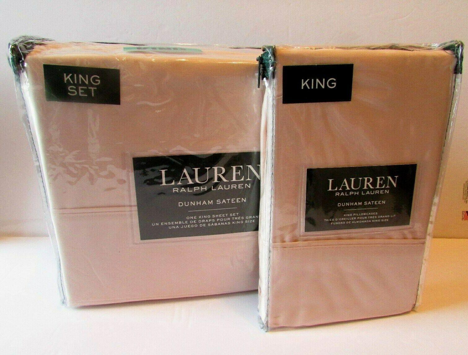Ralph Lauren Dunham Pink Champagne KING 6 pc. Sheet Set + X Pr Pillowcases NIP