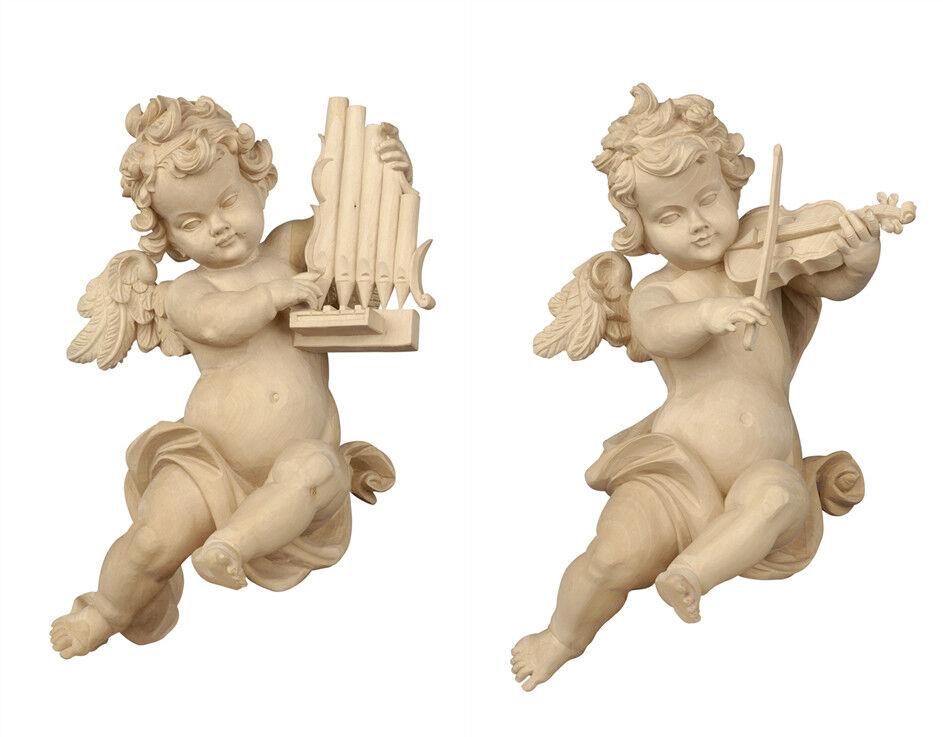 Putten 2 Engel O.V-Spieler von der Wand Holz natürliche 2 Wall Angels geschnitzt