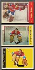 Jacques Plante, (3 card lot) Rookie incl. (1955 to 1960) PH Reprint, top Quality