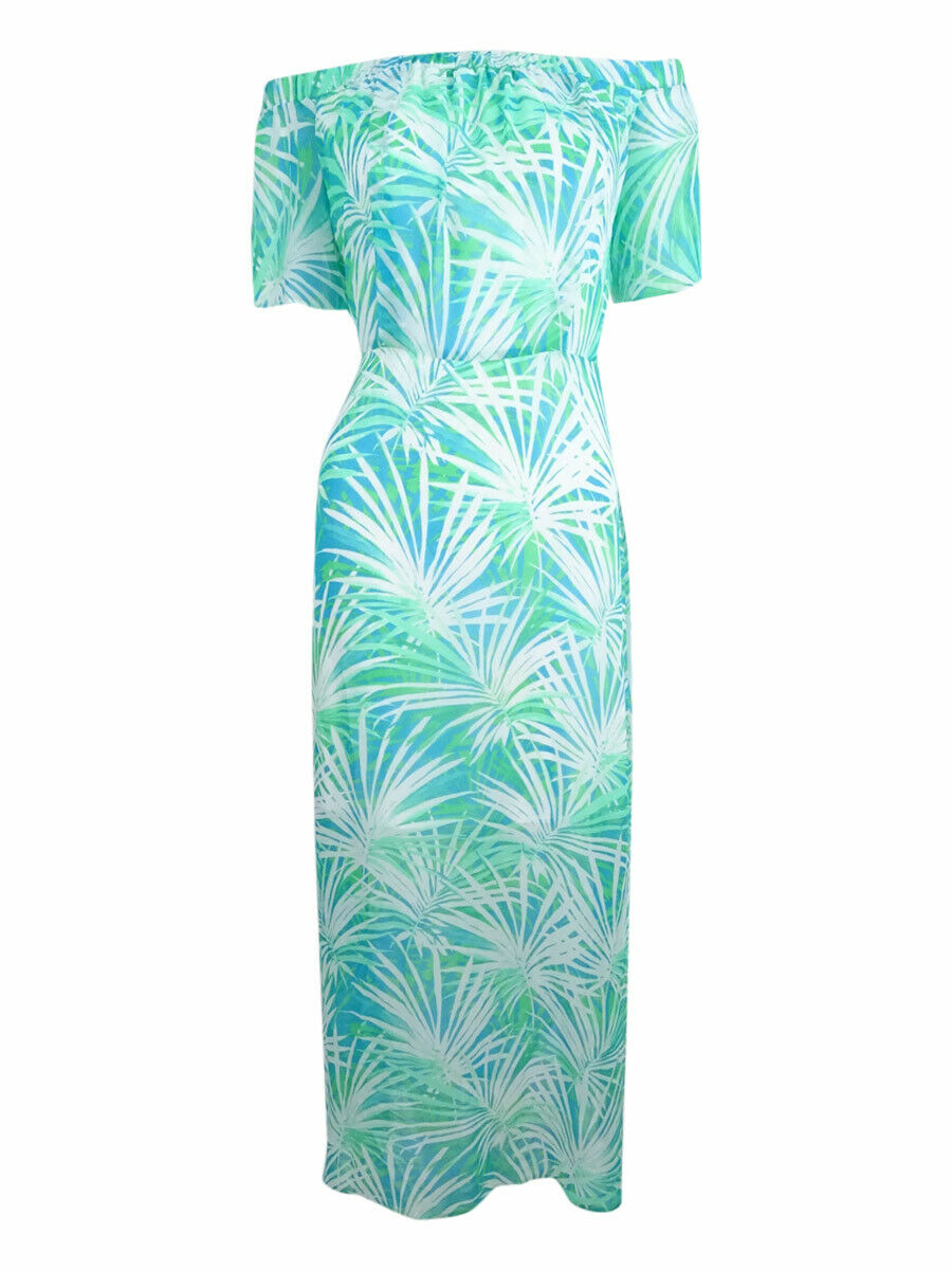 CeCe Woherren Off-The-Shoulder Floral-Print Maxi Dress (6, Laguna Blau)