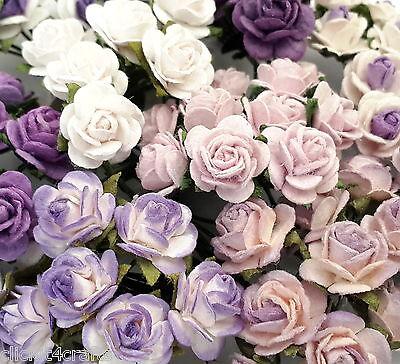 50 Mini Purple Paper Crafts Flower Wedding Rose Cards Dolls Home Decor ZR2-601