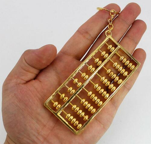 Lucky Fengshui Pendant Gold plated Abacus Bead Metal Keychain