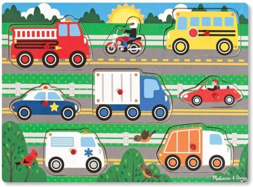 Melissa /& Doug Vehicles Wooden Peg Puzzle 8 pcs