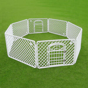 White Fence Pet Dog Cat Folding Exercise Yard 8 Panel Outdoor Indoor Play Pen