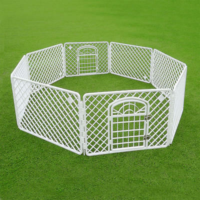 Flexible Indoor/Outdoor Pet Dog PlayPen 8-Panels Play Pen W/ Lockable Door