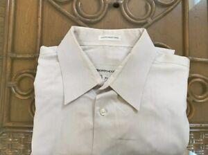 Mens Wearhouse Pronto Uomo Mens Dress Shirt Stone 100% Cotton 16 1/2 34 35