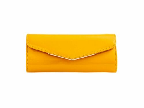 New Ladies Faux Leather Envelope Style Evening Plain Clutch Bag Party wedding Uk