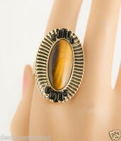 House Of Harlow Nicole Richie Jasper Tiger's Eye Electric Charge Cocktail Ring