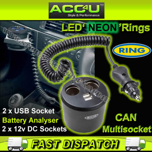 Ring RMS10 12v Car Twin Multi Socket Can With Two USB Sockets /& Battery Analyser