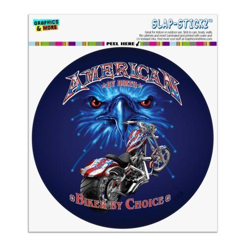 American by Birth Motorcycle USA Flag Circle Bumper Window Sticker