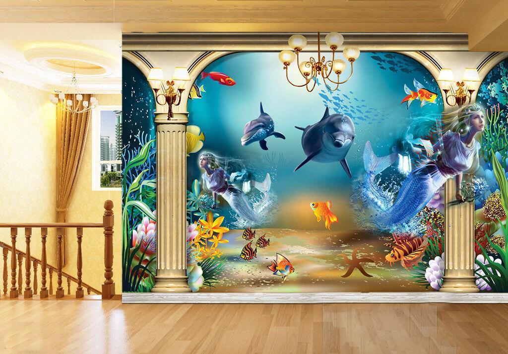 3D Netter Delphin Fototapeten Wandbild Fototapete Bild Bild Bild Tapete Familie Kinder | Für Ihre Wahl  | Bestellungen Sind Willkommen  |  46acd7