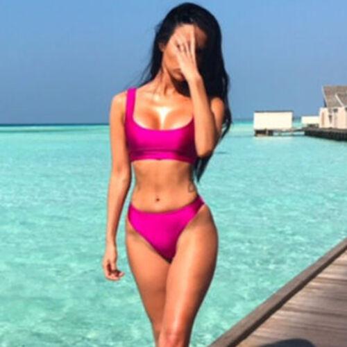 Costume da Bagno Donna 2 Pz Bikini Reggiseno Set Vita Alta Top Aderente Spiaggia