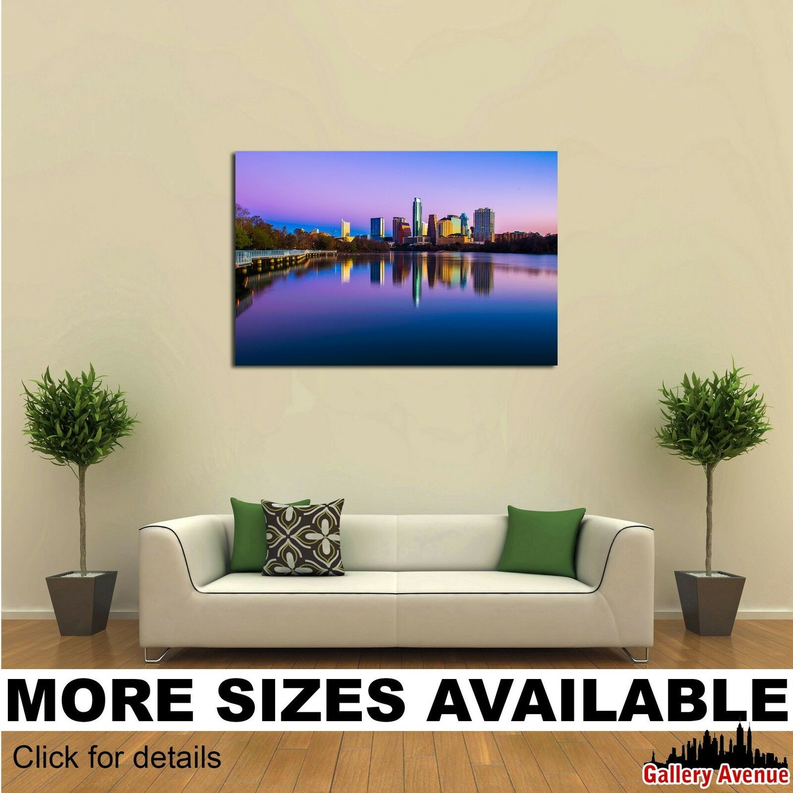 Wall Art Canvas Picture Print - Austin Texas Downtown Skyline Night Lake 5 3.2