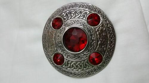 Celtique Mouche Plaid Broche Pierre Rouge Finition Antique Écossaise Kilt /&