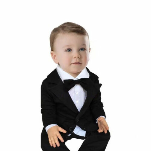 Baby Boys Tuxedo Wedding Suit Romper Jacket Formal Bowtie Suit Outfit Clothes