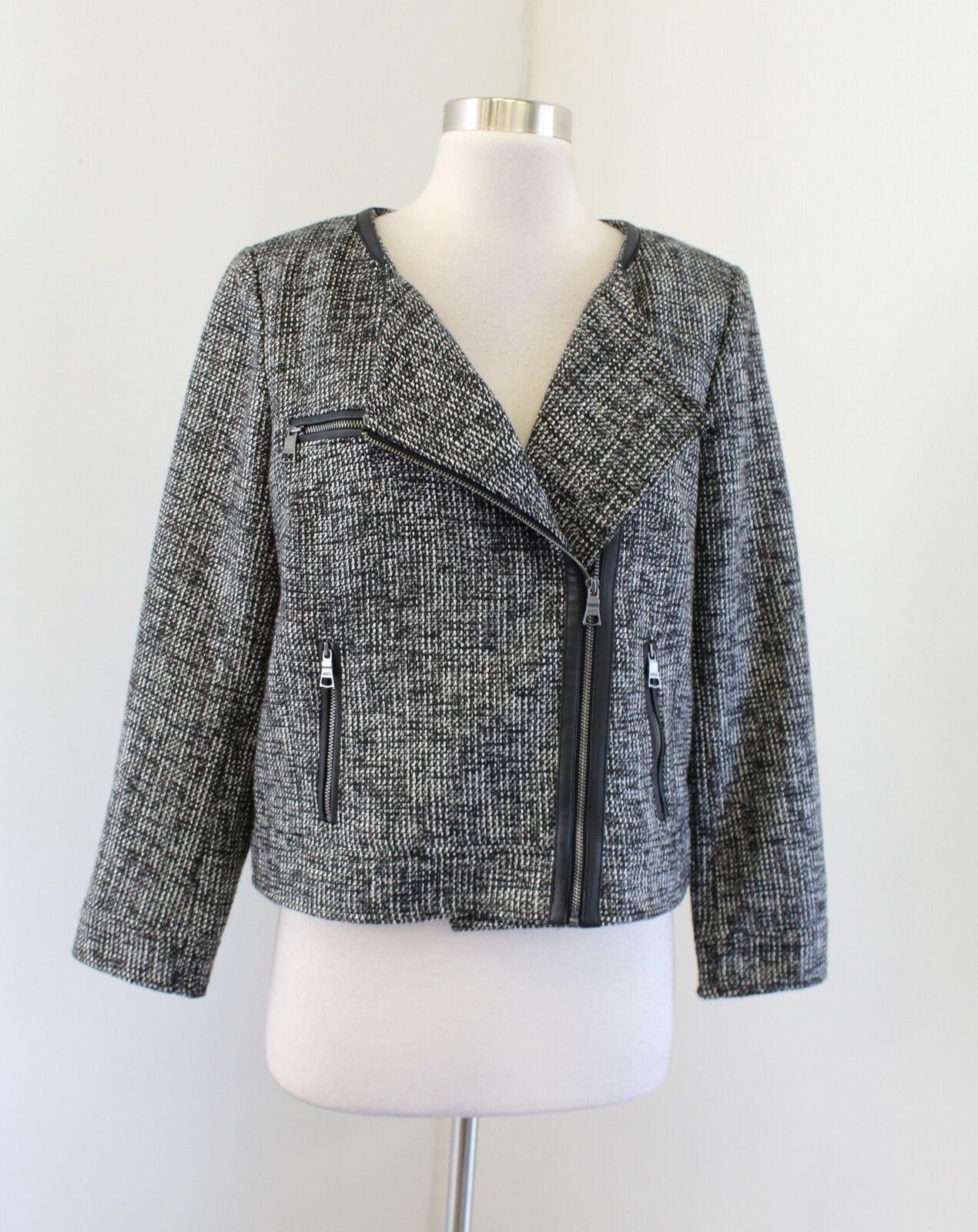Banana Republic Tweed Asymmetrical Zip Moto Blazer Jacket Size 10 Gray Black