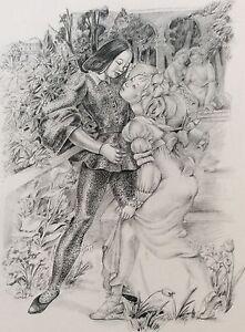 Scene-Amatory-Women-Au-Jardin-Lithography-of-1945-Drawing-Suzanne-Ballivet