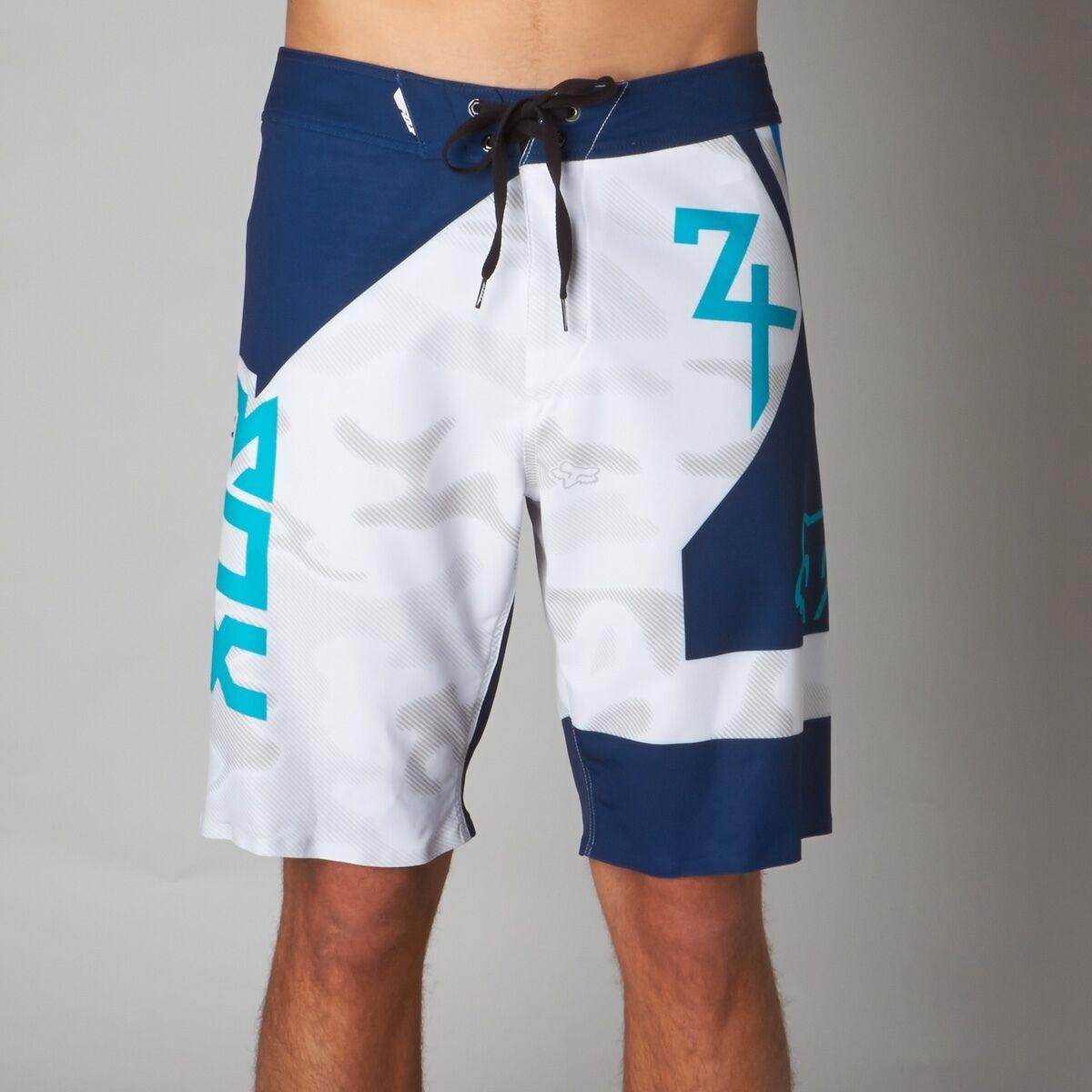 Nuovio con Etichette Fox Racing Assunzione Pantaloncini da Surf Bianco Blu 30-38