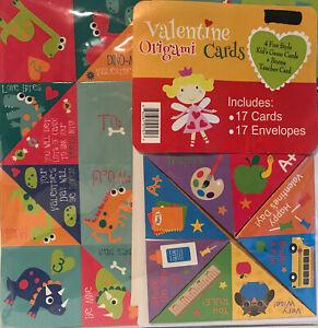 New Origami Valentines 17 Cards & Envelopes Robot Theme Kids Game Card Valentine
