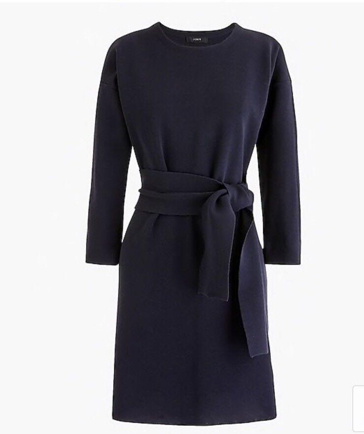 New J.CREW Tie-Waist Cotton Dress Indigo Sea Navy Sz S Small H6940  118