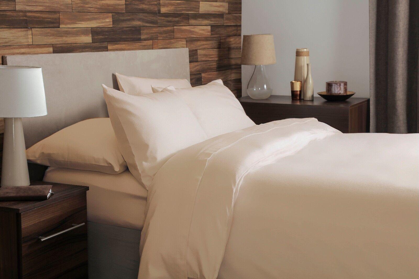 100% Brushed Cotton Plain Flannelette Double Größe Duvet Cover Set in Cream