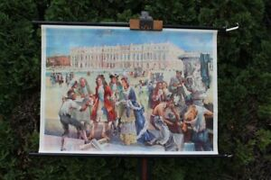 Carte-a-Rouler-Schulwandkarte-Murale-Ludwig-XIV-Construit-Versailles-Schulkarte