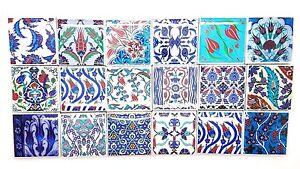 Set Of Square Turkish Kilim Ceramic Tiles Refrigerator Magnets - 3 inch square ceramic tiles