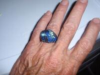 Park Lane Jewelry, sapphire Drama Ring, S-10 1/2, Austrian Crystals,new