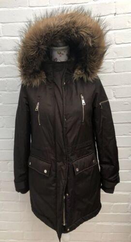 veste blogueur d'hiver capuche F chaud fourrure taille manteau brun longue f festival 8 zwZq8zvg