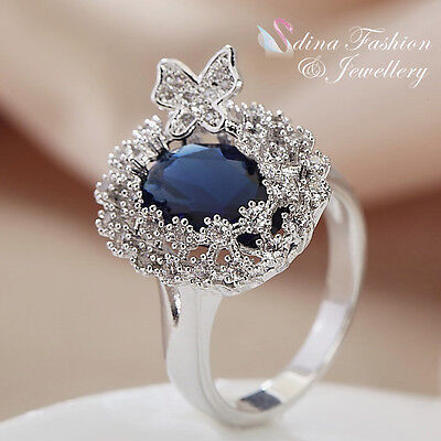 18K White Gold GP Made With Swarovski Element Butterfly Sapphire Cluster Ring