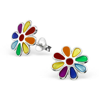 Children's Sterling Silver COLORFUL Flowers Ear Studs Stud Earrings Kids Jewelry