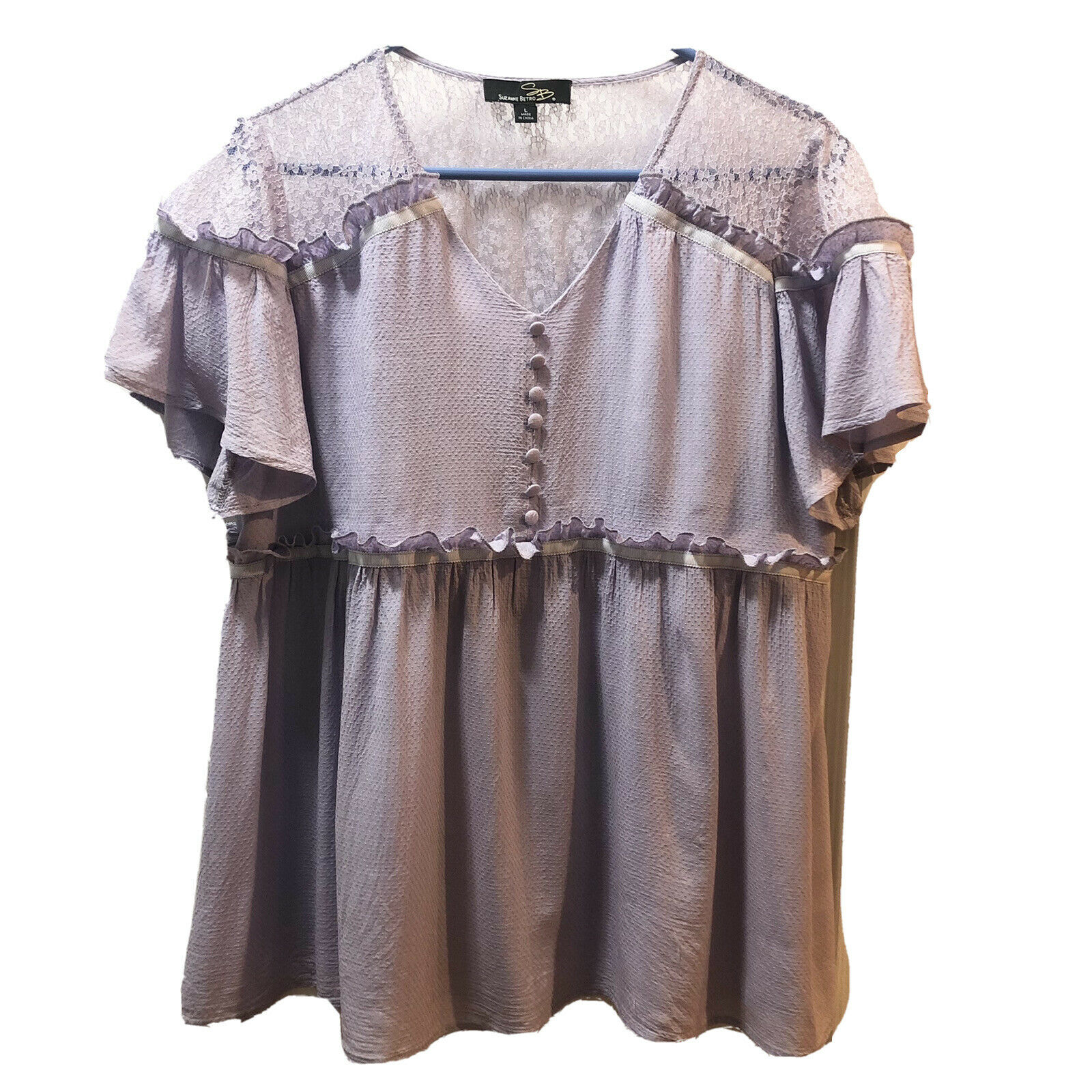 Suzanne Betro Womens Lilac Lace Ruffle Flowy Blou… - image 1