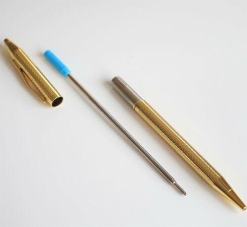 UK SOLD! JINHAO #310 GOLD PLATED CHISELLED BALLPOINT PEN GT TYPE 8513 INK