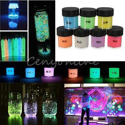 Various 7-Color Luminous Paint Pigment Glow Powder Luminescent Party Makeup 10ml