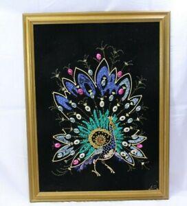 Peacock-Gravel-Bejeweled-String-Art-1968-17-034-x-24-034-Black-Felt-Mid-Century
