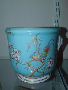 VINTAGE LIMOGES FRANCE porcelain blue birds flowers G SIMONNET cache ...