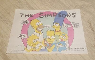 SIMPSONS BURGER KING RESTAURANT 1990 PAPER PLACE MAT TRAY LINER UNUSED NOT MINT