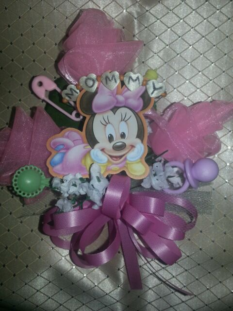 Mickey Minnie Mouse Donald Duck Pluto baby shower corsage pink blue or any color
